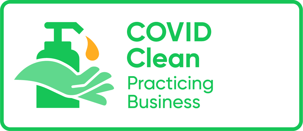 COVID clean practising business logo